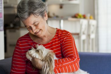 senior woman with dog