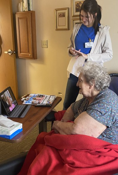 a resident enjoying a virtual visit